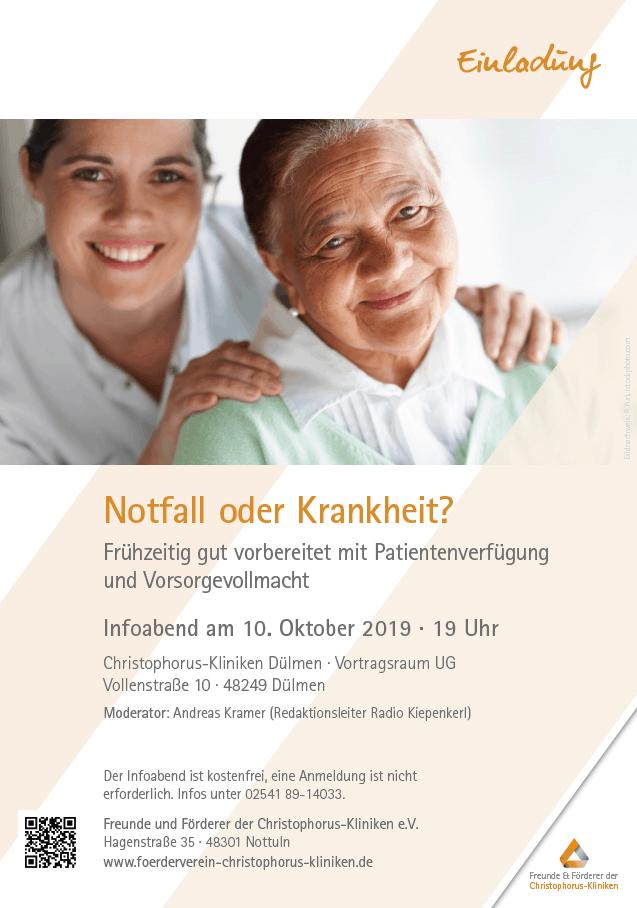 Einladung zum Infoabend 10. Oktober 2019: Frühzeitig gut vorbereitet mit Patientenverfügung und Vorsorevollmacht
