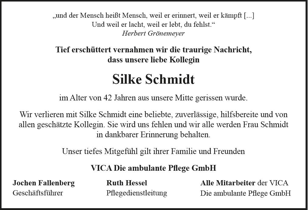 Nachruf Silke Schmidt